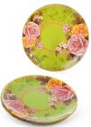 """Набор 6 стеклянных тарелок """"Чайная роза"""" Ø25см, обеденные тарелки"""