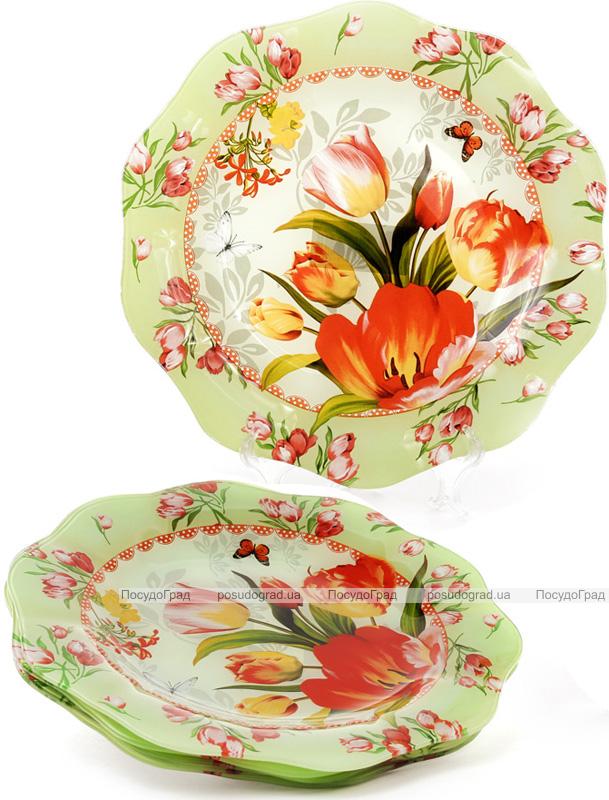 """Набор 6 стеклянных тарелок """"Тюльпаны"""" Ø30см, подставные тарелки"""