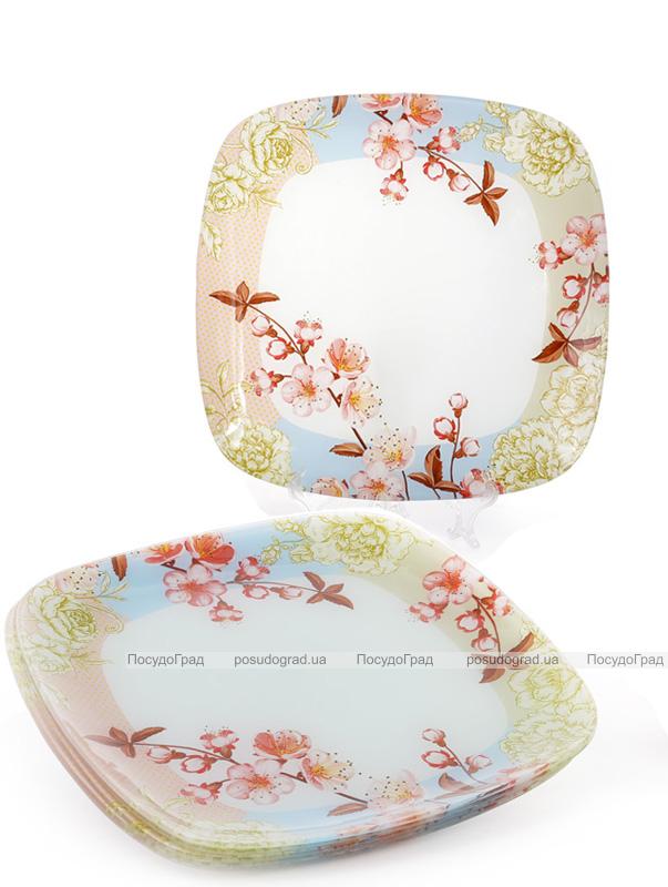 """Набор 6 стеклянных тарелок """"Цветущая вишня"""" 19х19см, десертные тарелки"""