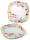 """Набір 6 скляних тарілок """"Квітуча вишня"""" 25х25см, обідні тарілки"""