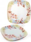 """Набір 6 скляних тарілок """"Квітуча вишня"""" 30х30см, підставні тарілки"""