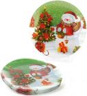 """Набор 6 новогодних стеклянных тарелок """"Снеговик"""" Ø20см"""