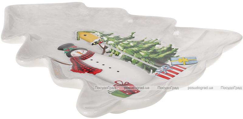 Блюдо «Snowman Party» Ялинка, керамічне 21.6х20.5см
