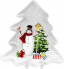 Блюдо «Snowman Party» Ёлочка, керамическое 21.6х20.5см