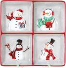 Менажница керамическая «Snowman Party» 19.7х19.7см, 4 секции