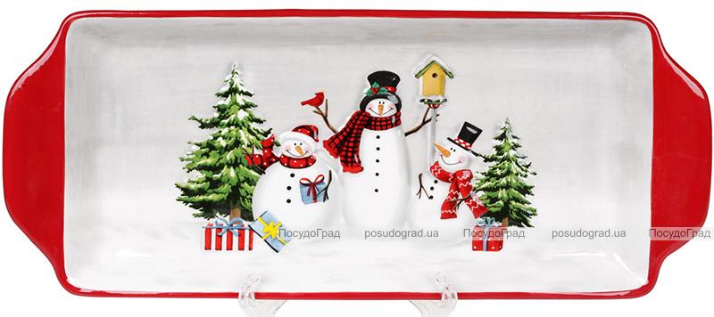 """Блюдо """"Snowman Party"""" керамическое прямоугольное 35х14х3см"""