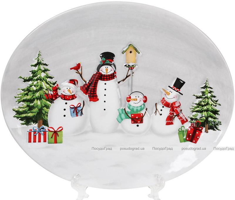 Блюдо «Snowman Party» керамічне овальне 30.5х24.8см