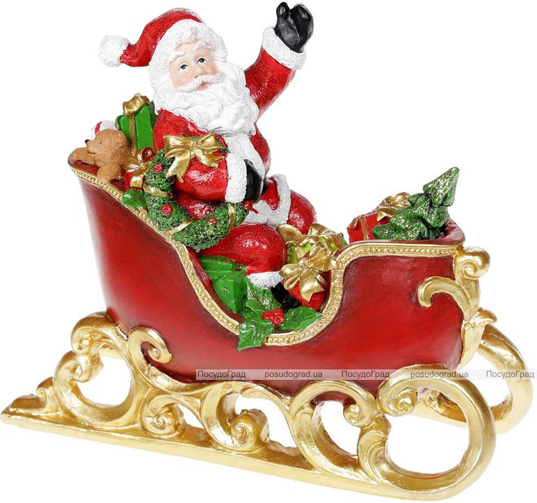 """Статуетка декоративна """"Санта в Санях"""" 25х11х20.5см, полистоун червоний з золотом"""