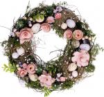 """Вінок великодній """"Рожеві Квіти"""" Ø31см"""