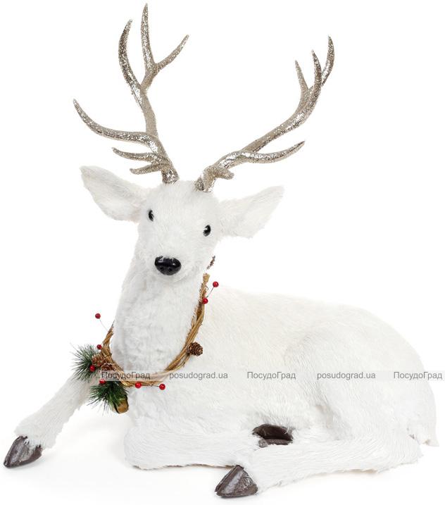 "Декоративная фигура под ёлку ""Белый олень"" 56х29х67см"