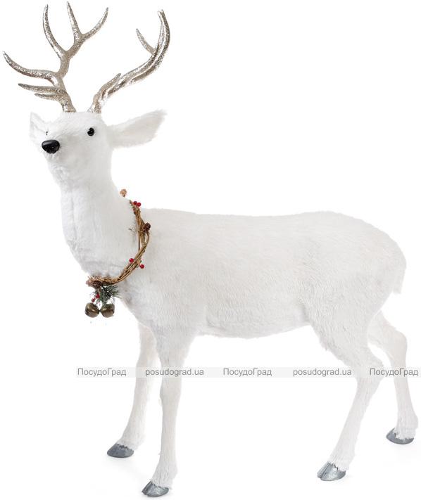 """Декоративна фігура під ялинку """"Білий олень з вінком"""" 90х40х120см"""