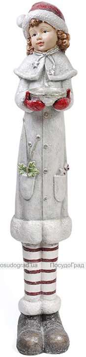 """Новогодняя керамическая фигура """"Девочка с миской"""" 117см"""