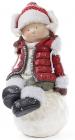 """Новорічна керамічна фігура """"Дівчинка на сніжку"""" 45см, червона куртка"""
