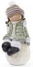 """Новорічна керамічна фігура """"Дівчинка на сніжку"""" 45см, зелена куртка"""