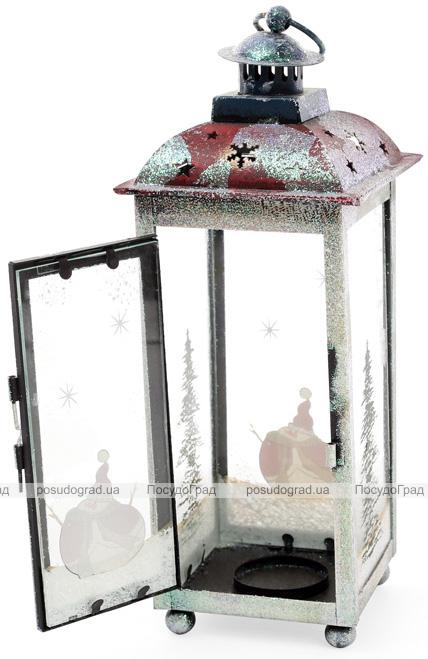 """Новорічний ліхтар-свічник """"Снігова ніч"""" 11х11х28см"""