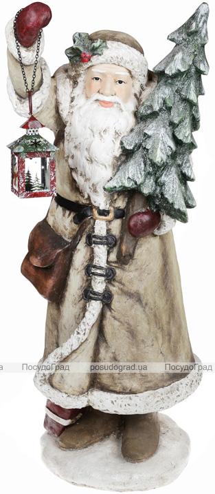 "Фигура декоративная ""Санта с ёлкой и фонариком"" 98см с LED-подсветкой, бежевый"