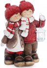 """Новорічний декор """"Дітки з ліхтариком"""" 48.5см, в червоному"""