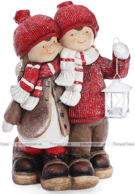 """Новогодний декор """"Детки с фонариком"""" 48.5см, в красном"""