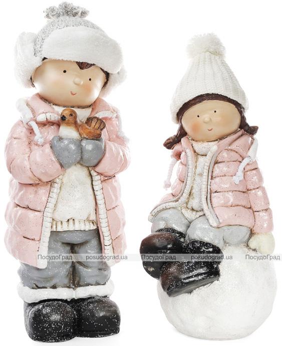 """Декоративная фигура """"Девочка на снежке"""" в розовой куртке 45см"""