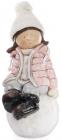 """Декоративна фігура """"Дівчинка на сніжку"""" в рожевій куртці 45см"""