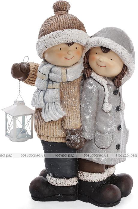 """Новогодний декор """"Детки с фонариком"""" 48см"""