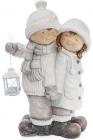 """Новорічний декор """"Дітки з ліхтариком"""" 48см, в сірому"""