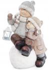 """Декоративна керамічна фігурка """"Дітки на сніжку з ліхтариком"""" 49см"""