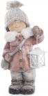 """Декоративна фігура """"Дівчинка з ліхтариком"""" 40см, в рожевій шубці"""