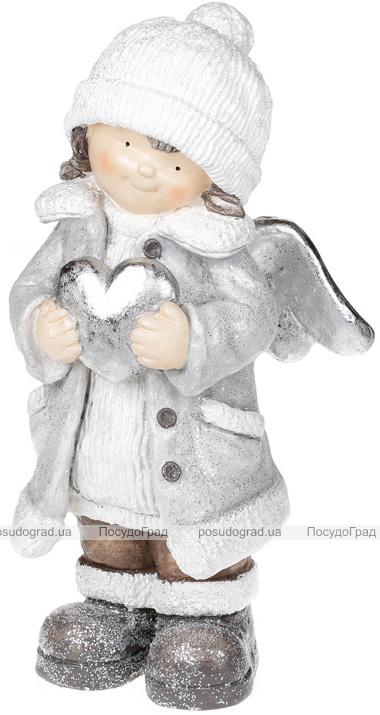 """Фигура """"Ангелочек с серебристым сердцем"""" 46.5см"""