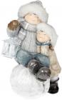 """Фігура декоративна """"Дітки з ліхтариком на сніжку"""" 48.5см"""