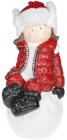 """Фігура декоративна """"Дівчинка на сніжку"""" в червоному костюмі 45см"""