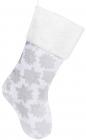 """Носок для подарунків """"Різдвяники"""" 49см, білий з сріблом"""