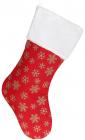 """Носок для подарков """"Снежинки"""" 49см, красный с золотом"""