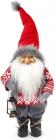 """Новогодняя мягкая игрушка """"Санта с фонариком в красном"""" 26х16х72см"""