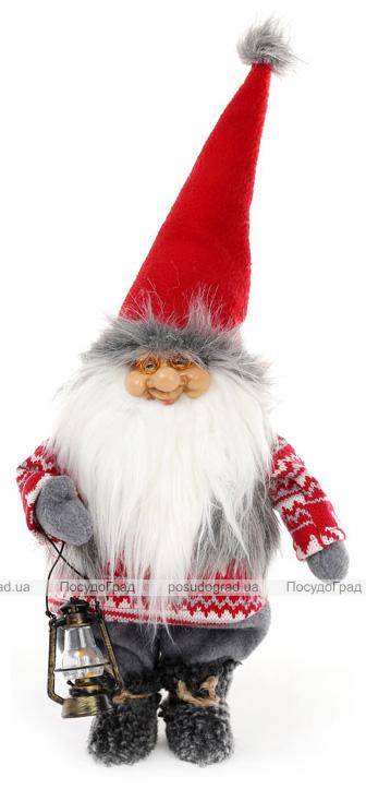 """Новорічна м'яка іграшка """"Санта з ліхтариком в червоному"""" 20х12х50см"""