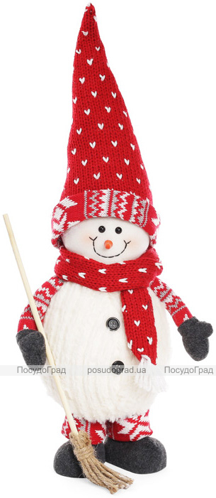 """Мягкая новогодняя игрушка """"Снеговик с метлой"""" 45см"""
