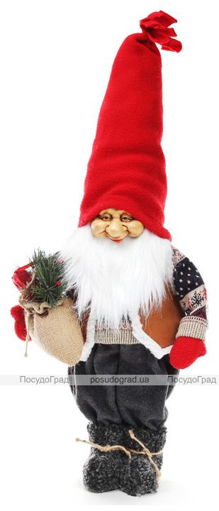 "Новогодняя мягкая игрушка ""Санта в свитере"" 28х19х65см"