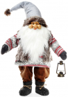 """Новогодняя мягкая игрушка """"Санта с фонариком в сером"""" 37х23х105см"""