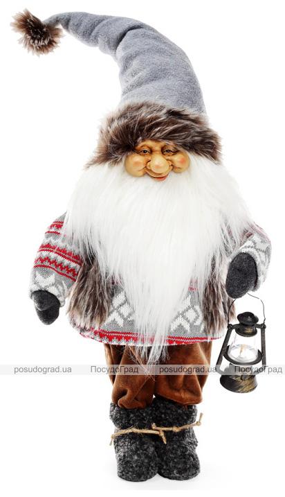 """Новогодняя мягкая игрушка """"Санта с фонариком в сером"""" 26х16х72см"""