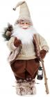 """Новогодняя мягкая игрушка """"Санта с фонариком в бежевом"""" 60см"""