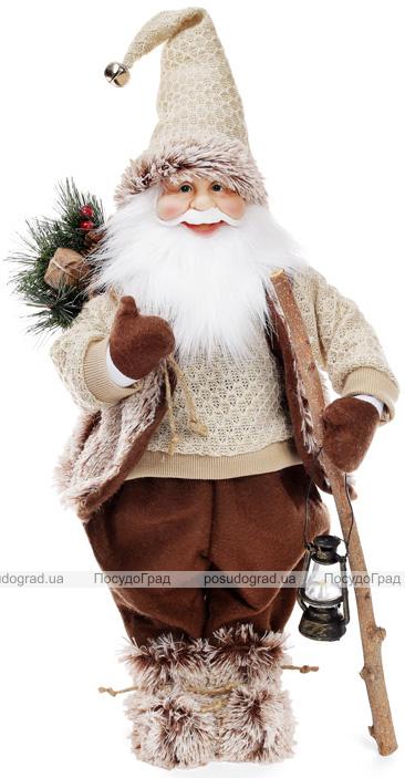 """Новорічна м'яка іграшка """"Санта з ліхтариком в бежевому"""" 60см"""