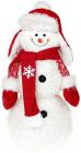 """Новорічна м'яка іграшка """"Сніговик в шапці-вушанці"""" 48см"""
