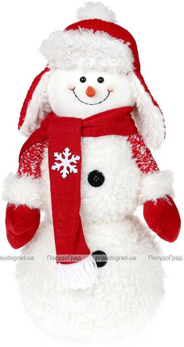 """Новогодняя мягкая игрушка """"Снеговик в шапке-ушанке"""" 48см"""