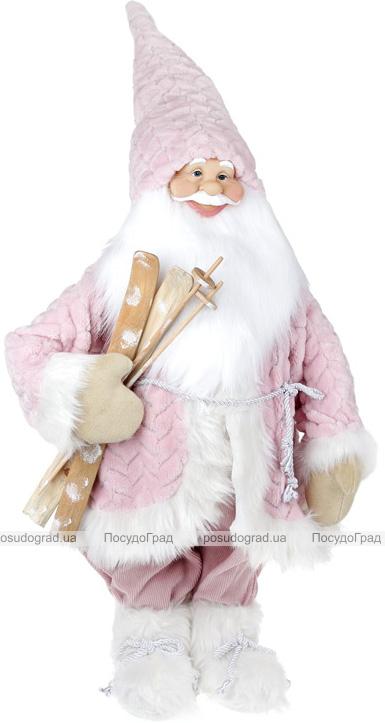 """Новогодняя мягкая игрушка """"Санта в розовом с лыжами"""" 90см"""