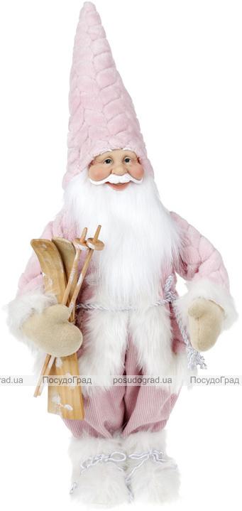 """Новогодняя мягкая игрушка """"Санта в розовом с лыжами"""" 64см"""