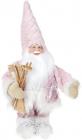 """Новогодняя мягкая игрушка """"Санта в розовом с лыжами"""" 44см"""