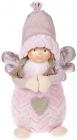 """Новогодняя мягкая игрушка """"Ангел в розовом с сердечком"""" 30см"""
