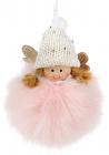 """Новогодняя подвесная игрушка """"Девочка в розовом"""" 10см"""
