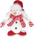 """Новогодняя мягкая игрушка """"Снеговик в шапке-ушанке"""" 30см"""