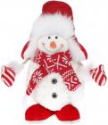 """Новогодняя мягкая игрушка """"Снеговик в шапке-ушанке"""" 37см"""